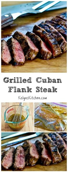 This Grilled Cuban Flank Steak will be a hit with all the beef lovers; perfect for every summer holiday party when you want something special to serve on the grill. This recipe is #LowCarb, #GlutenFree, and #Paleo, and it's delicious. [from http://KalynsKitchen.com]