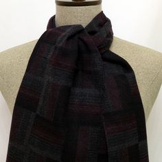 Grey and Claret red Double-sided Scarf - SC093 #handmadeatamazon #nazodesign