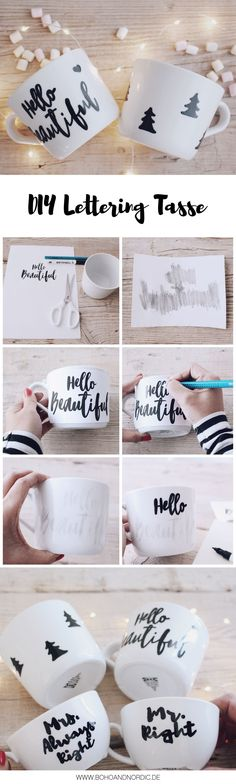 Basteln Deko DIY simple Christmas gifts - design your own cups - paint porcelain - mug lettering Personalized Christmas Gifts, Personalized Mugs, Diy Christmas Gifts, Simple Christmas, Diy Gifts For Girlfriend, Presents For Boyfriend, Diy Simple, Easy Diy, Simple Gifts