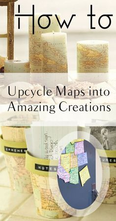 How to Upcycle Maps into Amazing Creations #upcycle #repurpose