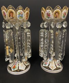 A PAIR OF 19TH C. BOHEMIAN GLASS LUSTERS Business Checks, Antique Auctions, Candelabra, Luster, Bohemian, Pairs, Antiques, Glass, Gold
