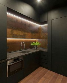 30 Inexpensive and Convenient Loft Kitchen Design Ideas That Are In Vogue Currently Loft Kitchen, Rustic Kitchen, Kitchen Decor, Kitchen Office, Office Kitchenette, Mini Kitchen, Decorating Kitchen, Office Table, Kitchen Living
