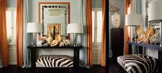 I love the orange against the zebra print! {design :: mary mcdonald}