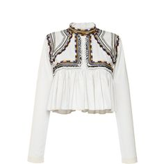 Isabel Marant Embroidered Cotton Twill Sachi Top ($433) ❤ liked on Polyvore featuring tops, blouses, shirts, blusas, ruffle blouses, white ruffle shirt, crop top, white crop top and white embroidered blouse