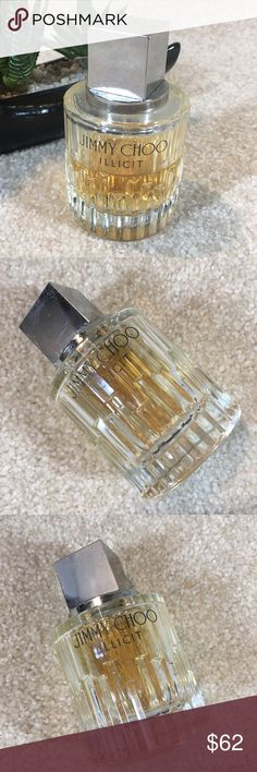 Jimmy Choo Illicit eau de parfum 3.3 oz size l Jimmy Choo Illicit. Smells amazing. Minimizing my life and closet. Just iver half of a bottle left. Always stored in dry dark environment. I take very good care of my things so be assured that this item is in excellent condition. Jimmy Choo Makeup