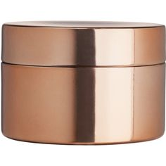 H&M Metal box with a lid ($3.73) ❤ liked on Polyvore featuring home, home decor, small item storage, copper, metal home decor, round boxes, colored boxes, metal box and lidded box