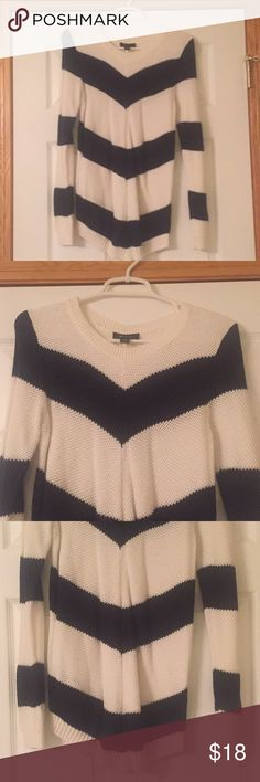AB Studio LS Sweater AB Studio Long sleeve sweater. Black and white in color. A small open stitch weave sweater. Beautiful and very comfortable. Very gently/used, worn only twice. Size medium. AB Studio Sweaters Crew & Scoop Necks