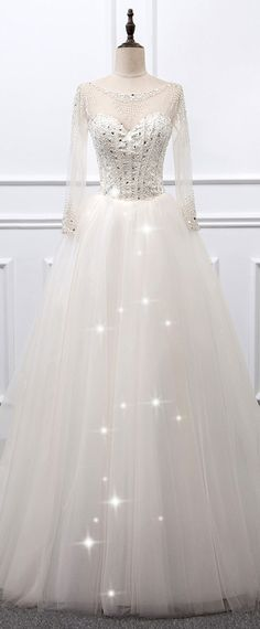 NEW! Brilliant Tulle Sheer Scoop Neckline Ball Gown Wedding Dress With Beadings