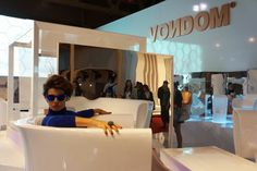 iSaloni Internazionale del Mobile.  The top model Antonia Dell'Atte sitting on BUM BUM armchair designed by  Eugeni Quitllet.