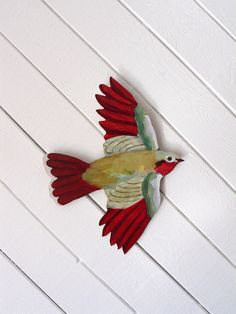 Red and Gold Bird Acrylic Painting on Wood by courtneyoquist, $220.00