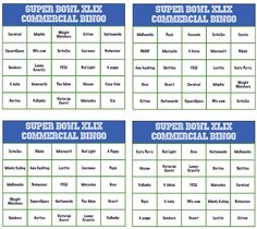Super Bowl Commercial Bingo Cards, perfect Super Bowl party games for people who love commercials!