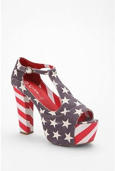 Jeffrey Campbell Americana T-Strap heel via UO.......with a silver tank + black long pencil skirt + red lips = perfect outfit.
