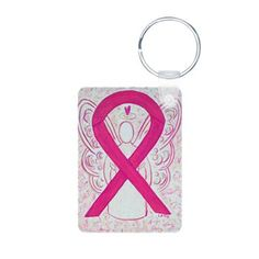 Hot Pink Awareness Ribbon Keychains - The hot pink or magenta awareness ribbon supports awareness for  inflammatory breast cancer.