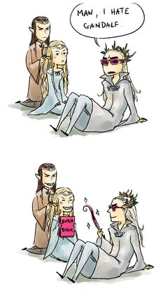 """""""Could you possibly drew Galadriel, Elrond, and Thranduil as Mean girls?"""" lol, Elrond braiding Galadriel's hair...."""
