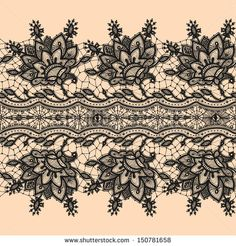 Seamless Pattern Black Lace - stock vector