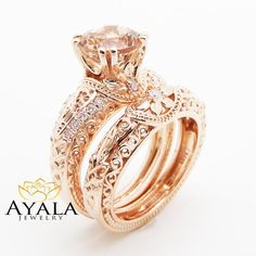 """Rose Gold Morganite Engagement Ring Vintage Engagement Ring Unique Retro Engagement Ring - Camellia Jewelry - For That """"Yes"""" Moment Princess Cut Engagement Rings, Morganite Engagement, Morganite Ring, Rose Gold Engagement Ring, Halo Engagement, Wedding Rings Vintage, Vintage Engagement Rings, Vintage Rings, Wedding Jewelry"""