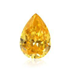 1.00 carat, Fancy Vivid Yellow Orange, Pear Shape, SI2 Clarity, GIA, SKU 138284