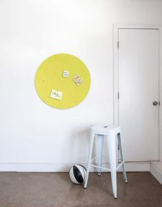 Pebble Pinboard, Small in Yellow Wall Spaces, All Design, Whiteboard, Yellow, Wood, Wall Art, Fiber, Decals, House