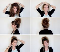 Easy messy bun tutorial.