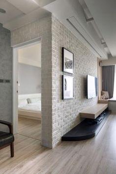 Thinking Design - Taichung Four Brick Interior, Interior Walls, Living Room Interior, Interior Architecture, Living Room Decor, Bedroom Decor, Brick Wall Decor, Deco Restaurant, White Brick Walls