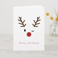 noel card Cute Winking Rudolf Reindeer Christmas Holiday Card christmascardshandmadekids Source by fabiolaburghard Simple Christmas Cards, Christmas Card Crafts, Homemade Christmas Cards, Homemade Cards, Christmas Holidays, Christmas Decorations, Reindeer Christmas, Christmas Cards Handmade Kids, Happy Holidays