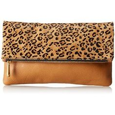 Fossil Erin Fold Over Clutch,Cheetah,One Size