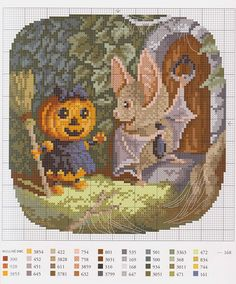 Halloween scene with Pumpkin person and bat (bbj6517) 1/1