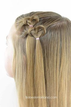 Who doesn't love Valentine's Day hairstyles? This cute heart hairstyle is one you're sure to fall in love with! Valentine's Day Hairstyles, Flower Girl Hairstyles, Hairstyle Ideas, Hair Ideas, Basketball Hairstyles, Wacky Hair Days, Post Workout Hair, Girls Hairdos, Hair Today Gone Tomorrow