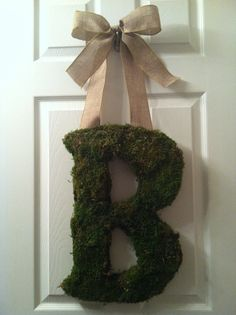 18 Moss Letter Monogram  Spring Wreath by FromTheCoast2TheCity, $55.00