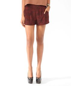 Pleated Abstract Print Shorts