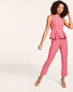 56e280beac69 Buy Pink Jamie Peplum Co-ords Trousers Set Online at StalkBuyLove |  IN1805MTOCOOPNK-884