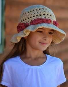Crochet Lexi Sun Hat with torn scarf...this looks like Chloe, @EricaGriffith!! ( the hat..not the girl...lol!)