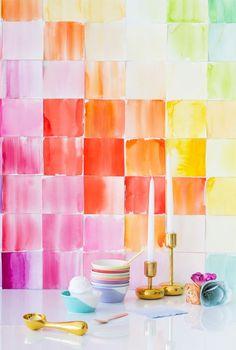DIY Watercolor Paper Squares Backdrop