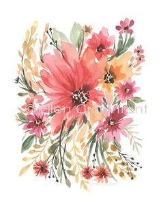 Boho Chic watercolor flowers/watercolor pink by EllenCrimiTrent