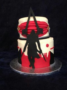 Assassin& Creed cake by Jen May Cakes! Cupcake Birthday Cake, Cupcake Cakes, Assassian Creed, Fantasy Cake, Cakes For Men, Bakery Cafe, Cacao, Creative Cakes, Let Them Eat Cake