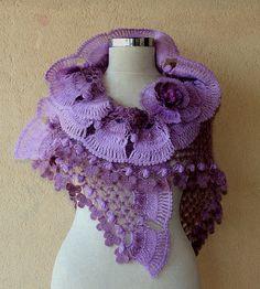 Soft Dreams / Crochet Lavander Lilac Shawl Wrap Neck Warmer