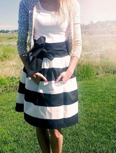 Black and white. LOVE this skirt! Also like this skirt paired with the leopard printed cardigan.