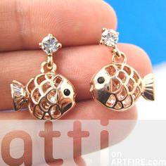 Cute Fish Sea Animal Dangle Stud Earrings in Gold with Rhinestones $6.99 #fishes #fish #sea #animal #stud #dangle #rhinestone #jewelry #earrings #artfire