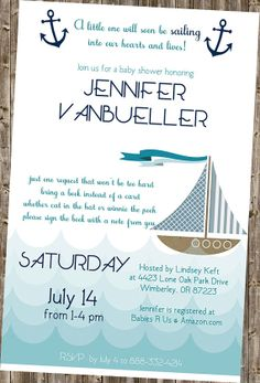 Baby Shower Invitation: Nautical-  Blue (other color schemes by request)