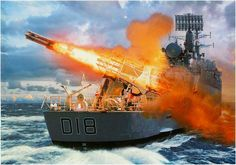 Sea Slug missile launched from the HMS Antrim probably the May 21, 1982 during the Falklands War.