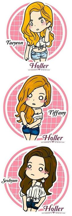 SNSD - TaeTiSeo Holler Sone drawing these chibis' are super cute omg