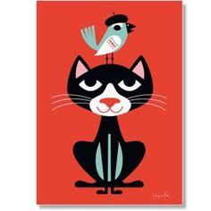Plakat Sort kat, 50x70cm.