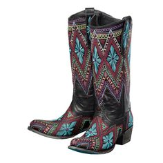 Shop Women's Lane Sunshine Black with Southwest Embroidery Cowgirl Boots