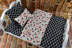 This colorful Geometric pattern has so many options! Lively and bright Black and Multi Colored coordinating patterns make this a wonderful set for any doll bedding collection. Mattress is gently hand 18 Doll Bed, Doll Beds, New American Girl Doll, American Girl Clothes, Boy Doll, Girl Dolls, Ag Doll House, Doll Bedding, Teddy Bear Clothes