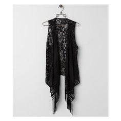 Rain Lace Vest (2,640 INR) ❤ liked on Polyvore featuring outerwear, vests, black, black waistcoat, vest waistcoat, black vest, fringe vest and lace vest