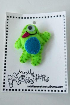 Feltie Pins...MIKEY MONSTER...love his google eye!