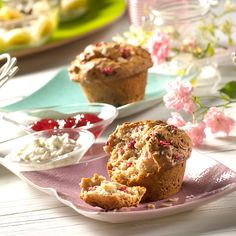 Müsli-Joghurt-Muffins -  Saftige Muffins mit Joghurt und einer leichten Himbeernote
