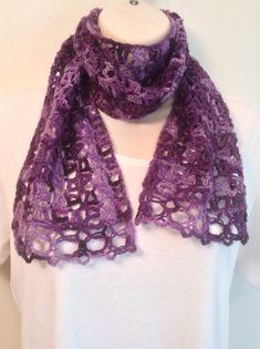 Purple Mix Lace Crochet Scarf by SueAnnesKnitShoppe on Etsy