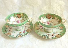 Pair Antique Rose Canton Chinese Teacups Hand Painted Green Gold Flower