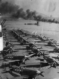 FAA aircraft aboard HMS Implacable in Sydney Harbour, Australia. Navy Aircraft, Ww2 Aircraft, Aircraft Carrier, Fighter Aircraft, Military Helicopter, Military Aircraft, Military Weapons, The Spitfires, Supermarine Spitfire